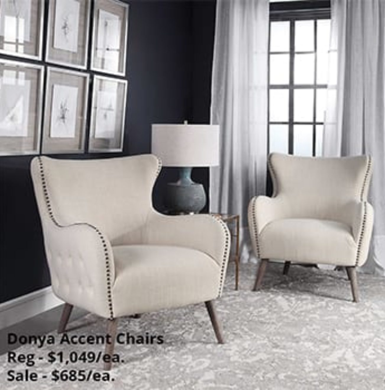 Donya Studded Accent Chairs