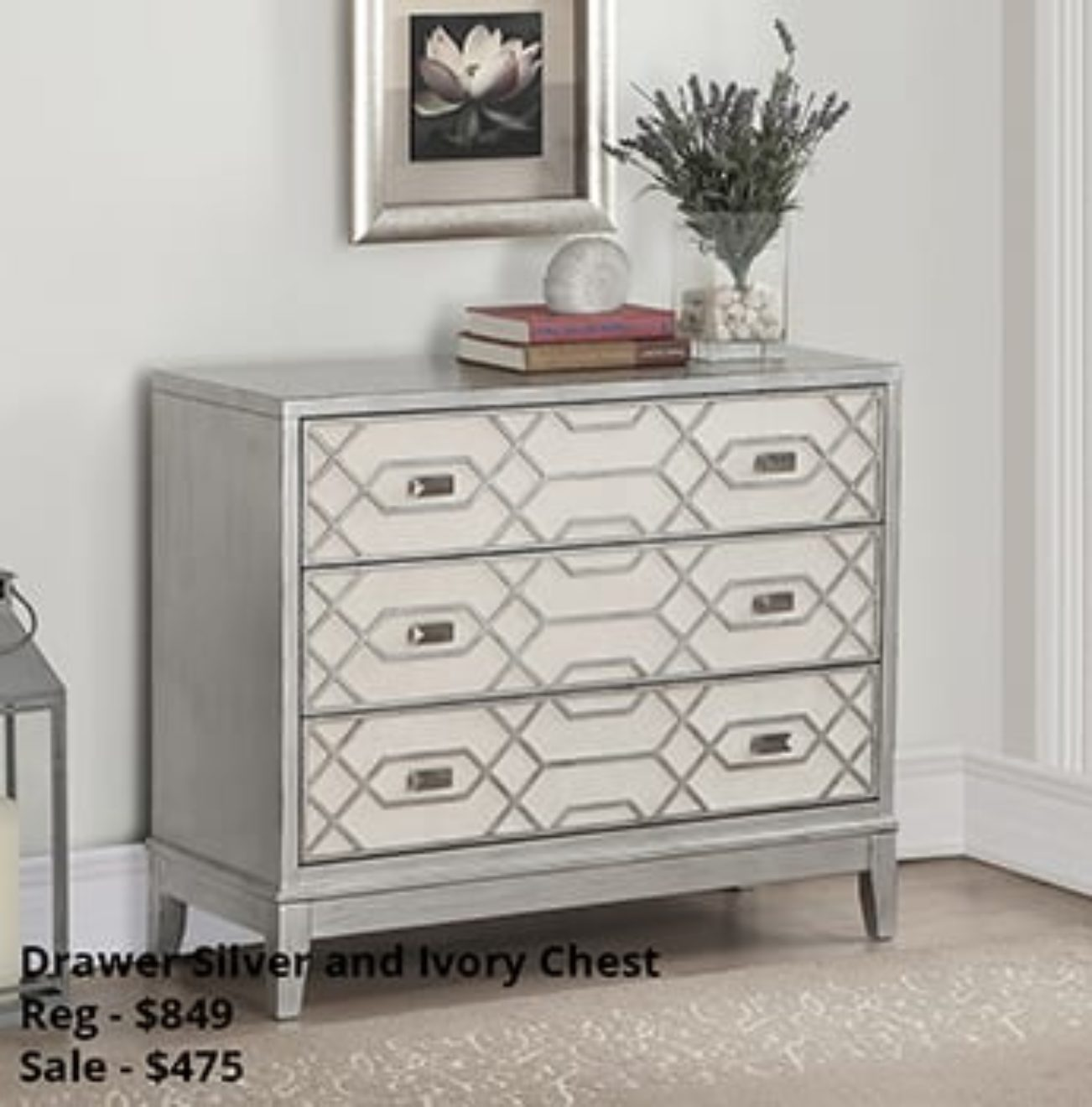 Drawer silver and Ivory chest