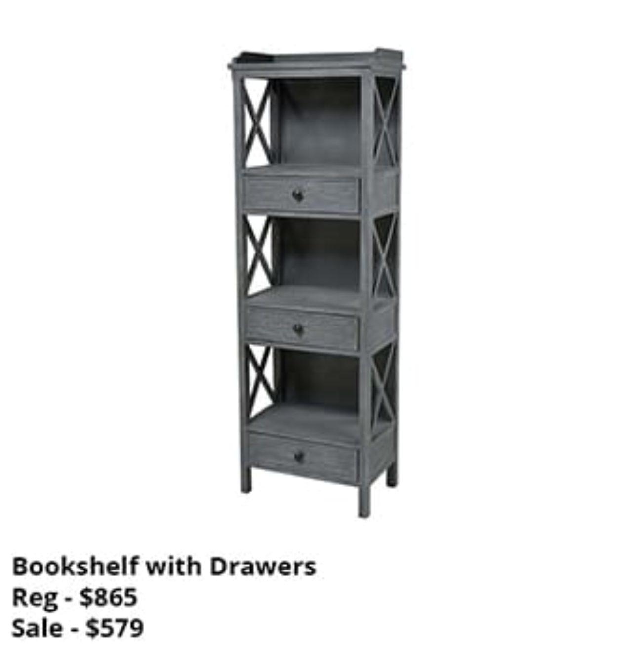 Gray Bookshelf with Drawers